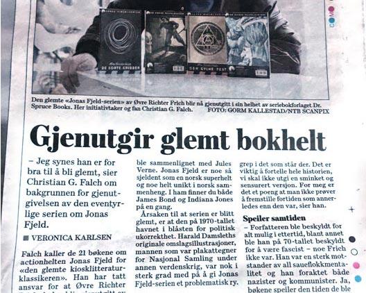 Dagsavisen skriver om nyutgivelsen av Jonas Fjeld-serien!
